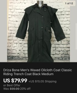 Driza Bone Sold On eBay