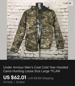 Under Armour Army Coat Sold On eBay
