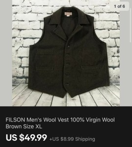 Filson Vest Sold On eBay