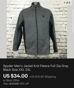 Spyder Jacket Sold On eBay
