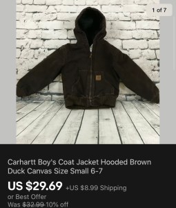 Carhartt Boy's Coat Sold On eBay