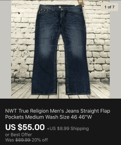 True Religion Jeans Sold On eBay