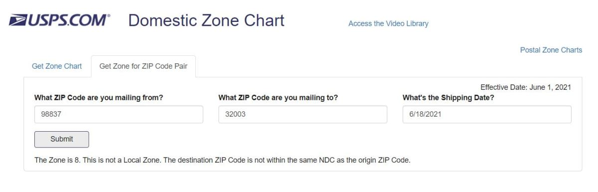 Calculate USPS Zone Codes