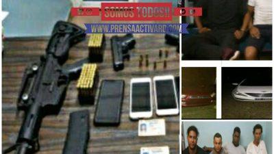POLICÍA APRESA BANDA FUERTEMENTE ARMADA, OCUPANDOLE FUSIL Y PISTOLAS EN SANTIAGO.
