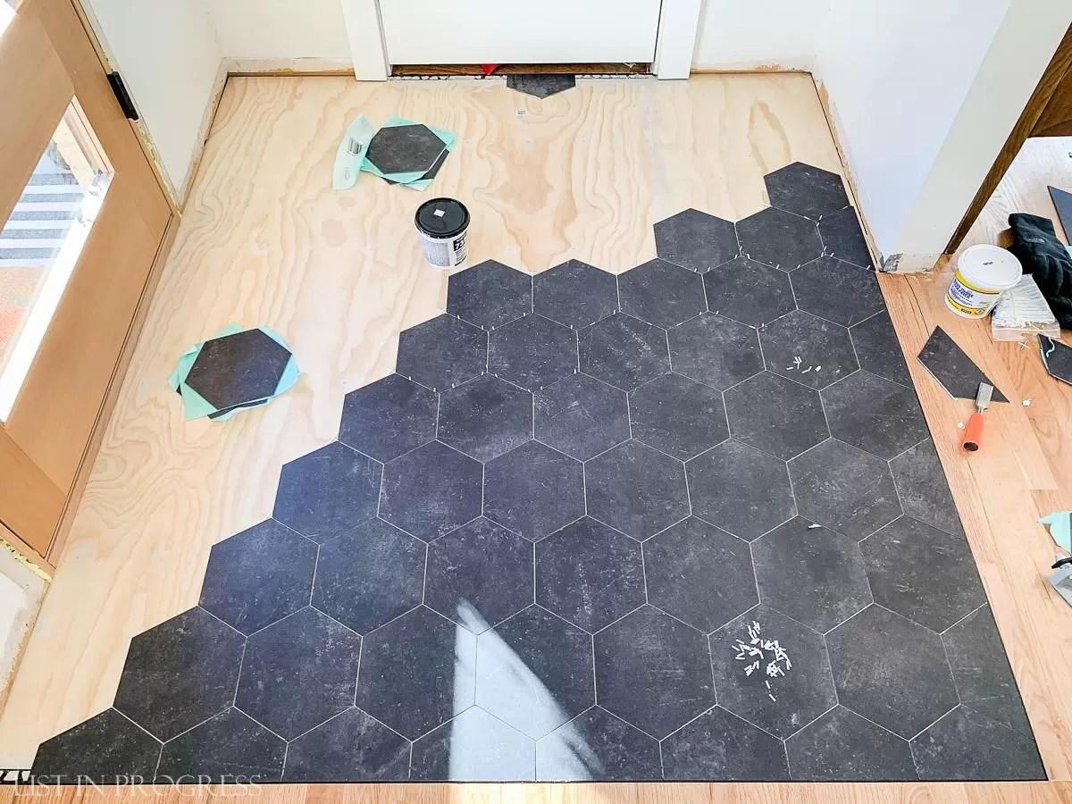 Install Groutable Vinyl Floor Tile, Groutable Vinyl Tile In Bathroom