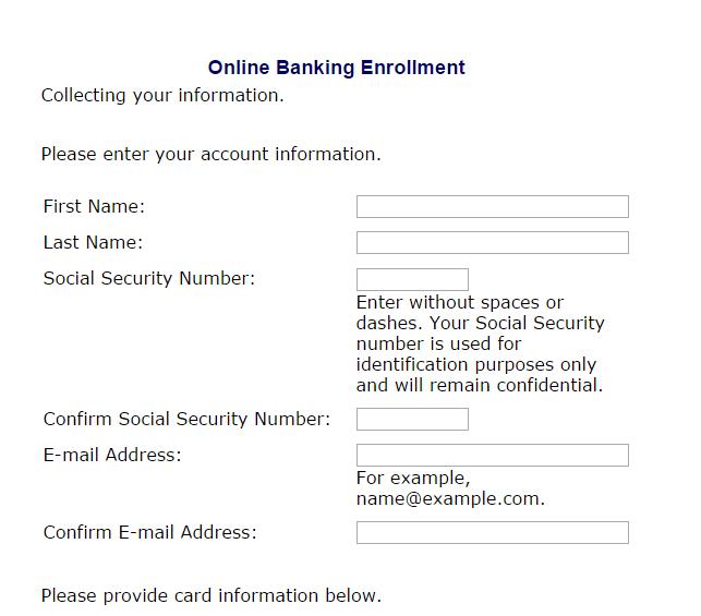 Ameris Bank online banking enrollment form