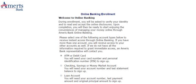 Ameris Bank online banking enrollment page