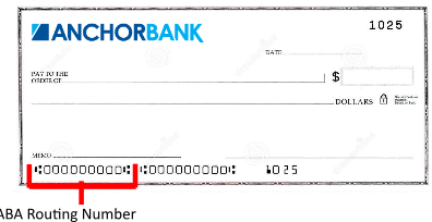 AnchorBank Routing Number on Check