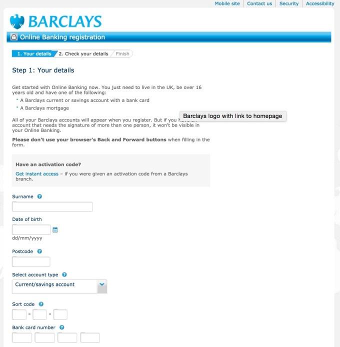 barclays online banking enrollment login page