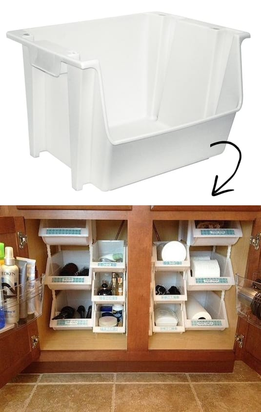 under sink storage and organization idea -- A ton of easy and cheap organization and storage ideas for the home (car too!). A lot of these are really clever storage solutions for small spaces, bedrooms, bathrooms, closets, kitchens and apartments. | Listotic.com