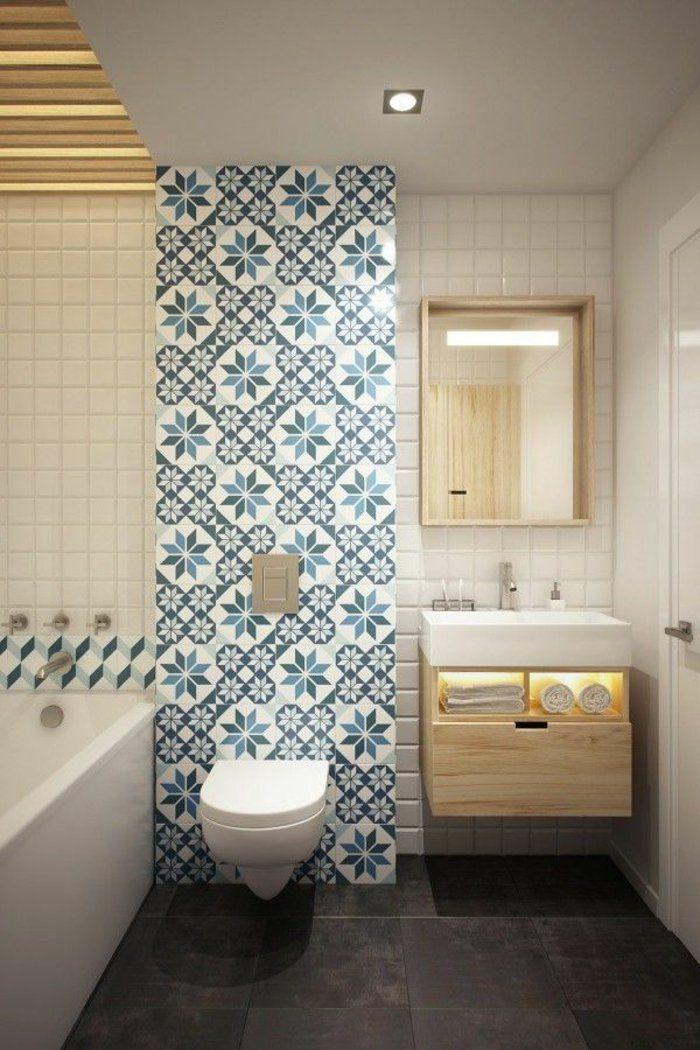 Stunning idee deco salle de bain carrelage bleu pictures for Idee deco salle de bain blanc