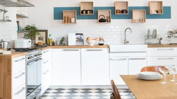 Id e relooking cuisine cuisine moderne design bicolore blanche et aubergine - Cuisine maison bourgeoise ...