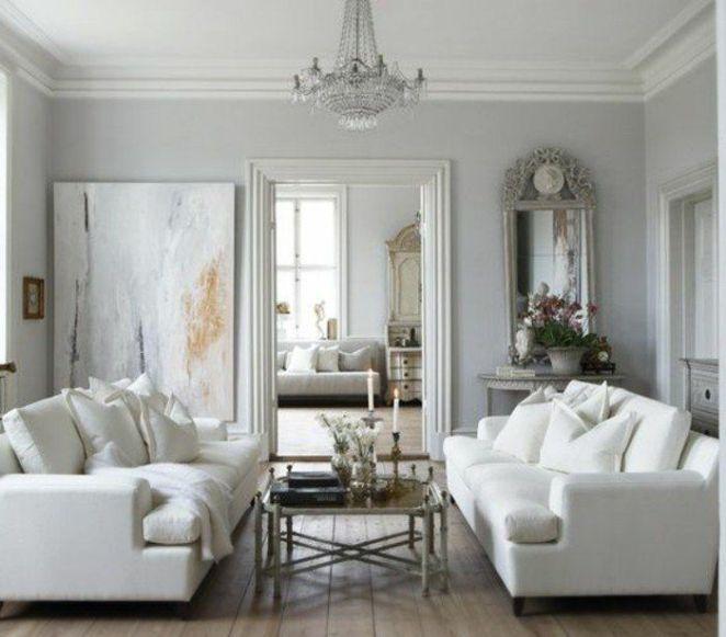 Déco Salon - Deco Salon Gris Et Blanc, Couleur Mur Gris Clair