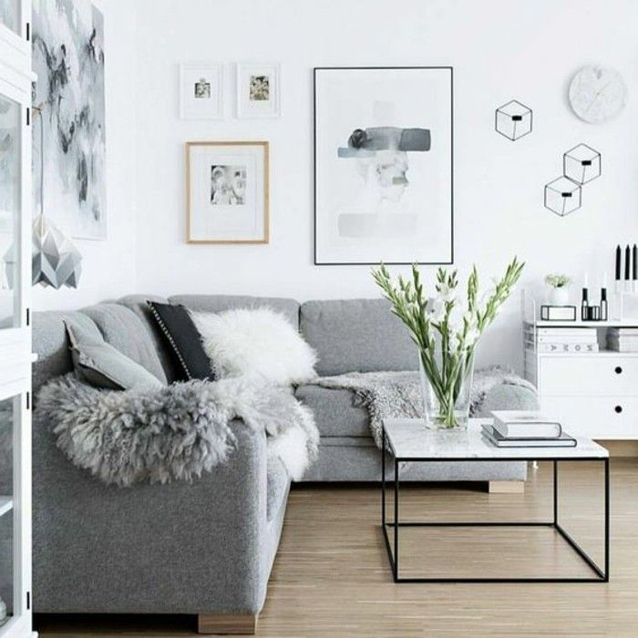 Awesome salon deco blanc et gris gallery amazing house for Decoration salon peinture