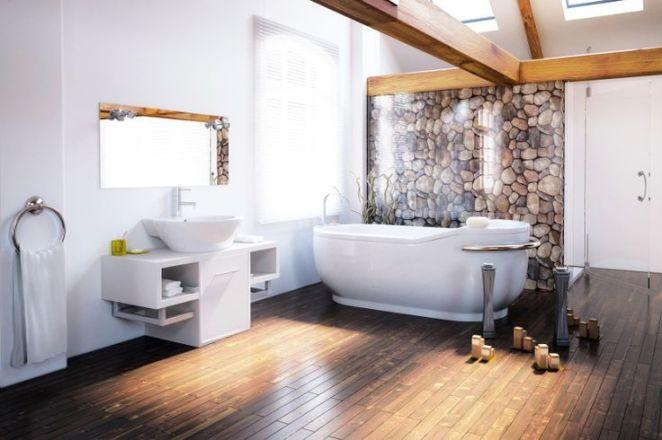 idée décoration salle de bain - baignoire sol plancher bois ... - Salle De Bain Sur Plancher
