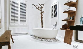 Idée décoration Salle de bain - banc-étagère rangement bois brut ...