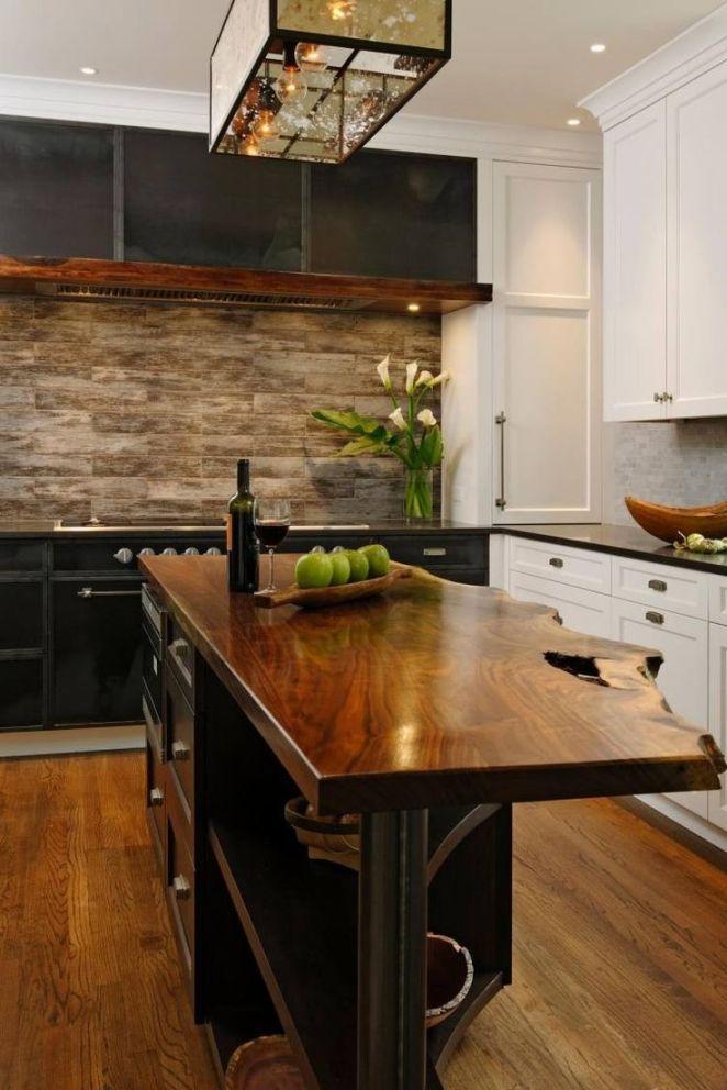 Idée relooking cuisine meubles bois massif brut cuisine avec ilot centralà comptoir en bois  # Cuisine Ilot Central Bois