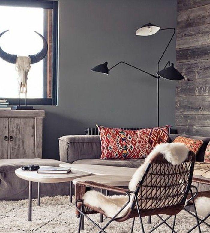 D co salon deco salon moderne ambiance rustique chic - Ambiance deco salon ...