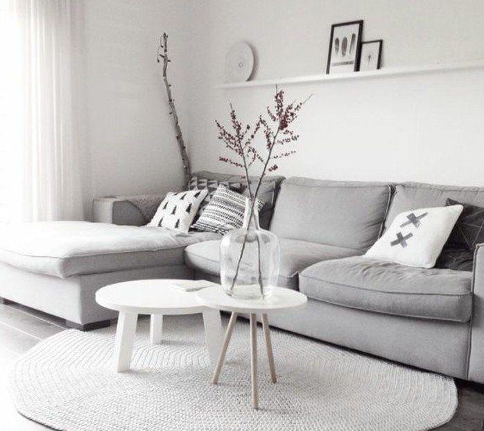 D co salon d cor extr mement sobre couleur mur blanche for Decoration canape gris