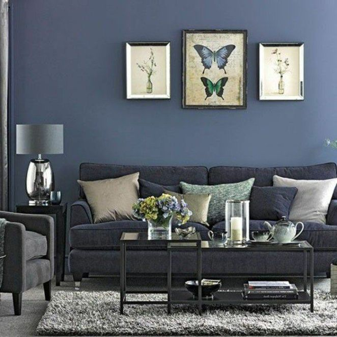 d co salon magnifique deco salon moderne couleur grise et bleu denim pour une int rieur c. Black Bedroom Furniture Sets. Home Design Ideas