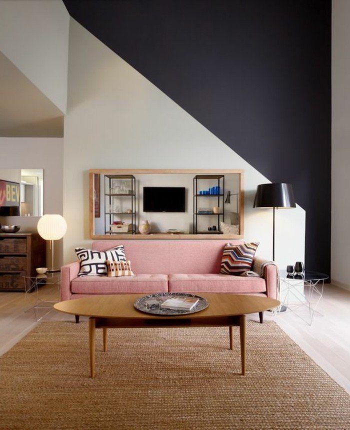 Dco Salon  mur double couleur blanc noir ide dco salon peinture tapis en rotin
