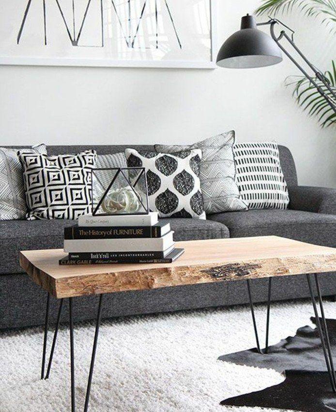 D co salon tr s joli salon gris et blanc idee deco salon sobre salon style scandinave c - Deco scandinave salon gris ...