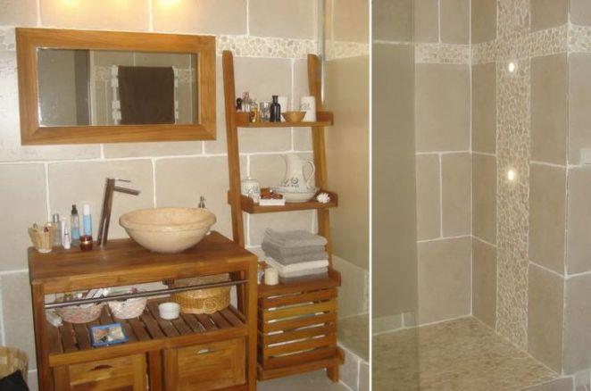id e d coration salle de bain bois et galets dans la salle d 39 eau leading. Black Bedroom Furniture Sets. Home Design Ideas