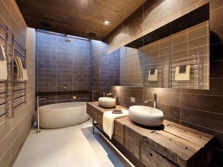 idée décoration salle de bain - meubles salle de bain bois massif ... - Salle De Bain En Bois Et Pierre