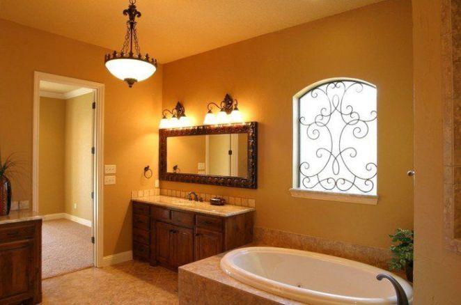 id e d coration salle de bain peinture salle de bain jaune ocre qui tend vers l 39 orange. Black Bedroom Furniture Sets. Home Design Ideas