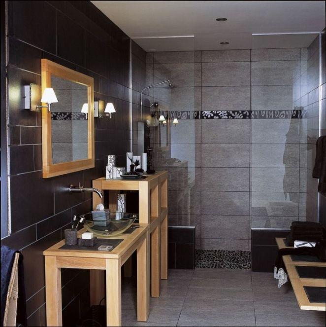 Idée décoration Salle de bain  Salle de bains Bois Noir