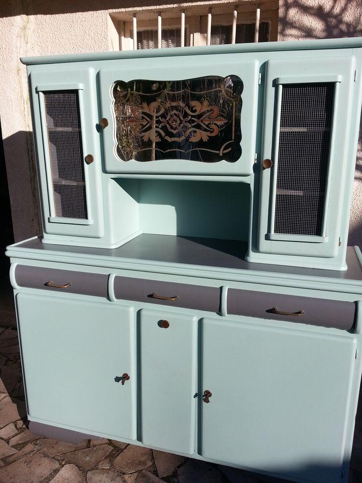 vaisselier cuisine armoire vitrine vintage bois portes. Black Bedroom Furniture Sets. Home Design Ideas