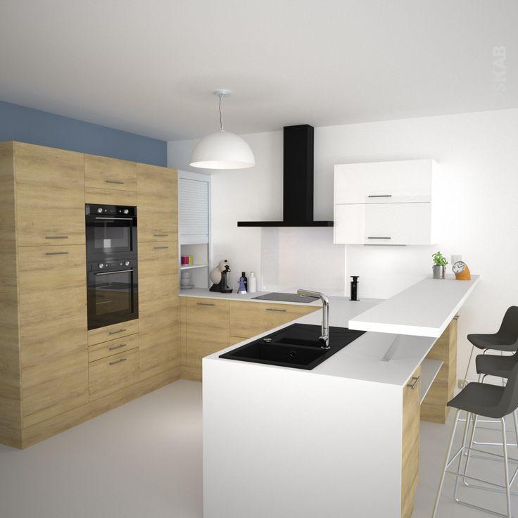 Id e relooking cuisine cuisine en u avec meubles d cor for Meuble cuisine bois naturel
