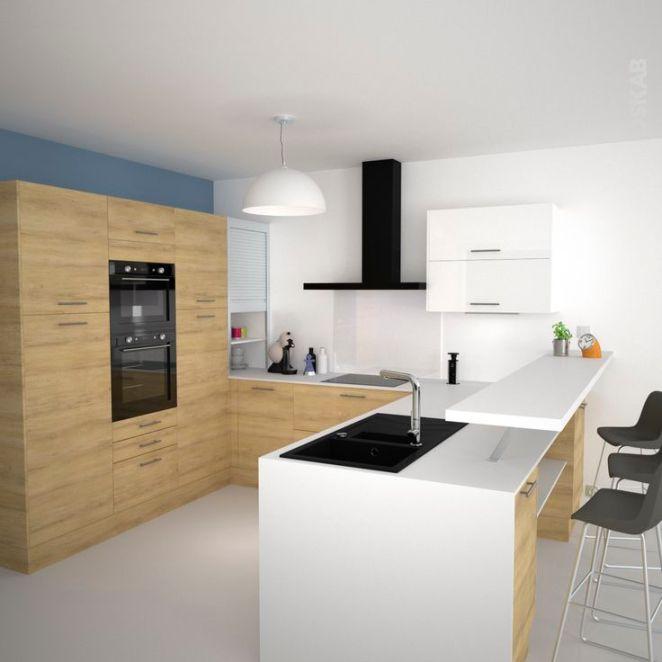 id e relooking cuisine cuisine en u avec meubles d cor bois naturel et plan de travail snack. Black Bedroom Furniture Sets. Home Design Ideas
