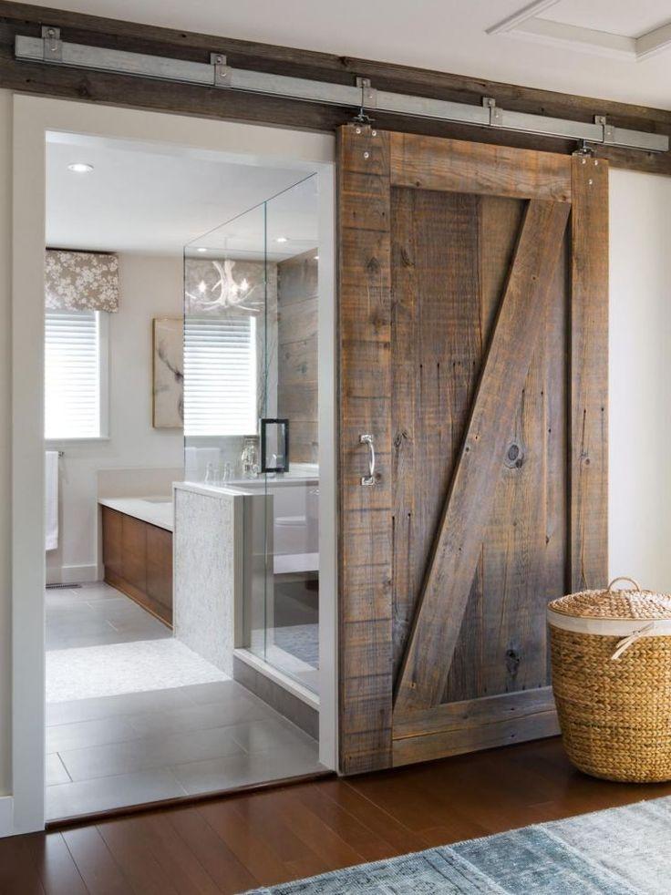 idée décoration salle de bain - porte coulissante grange- 35 idées ... - Porte Coulissante Pour Salle De Bain