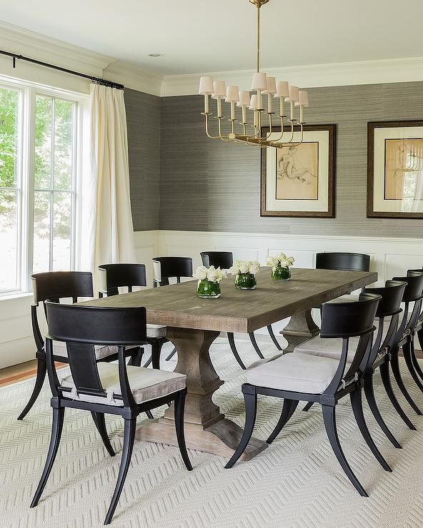 Salle A Manger Black Klismos Dining Chairs Transitional Room