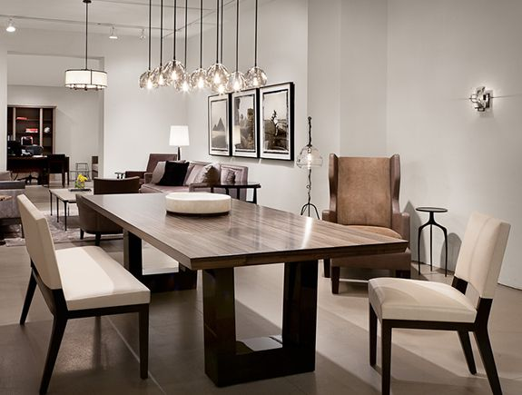 Salle A Manger Contemporary Dining Room Love The Modern Wood Table Chandelier Ligh