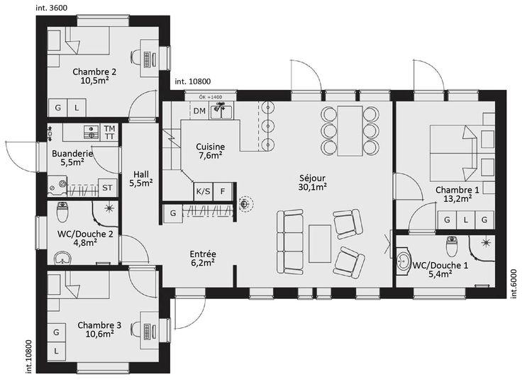 Plan Maison Ossature Bois Plain Pied 4 Chambres | Maison Modernes
