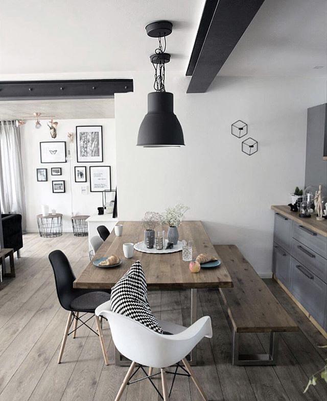 salle manger deco salle a manger table en bois et chaises noir leading. Black Bedroom Furniture Sets. Home Design Ideas
