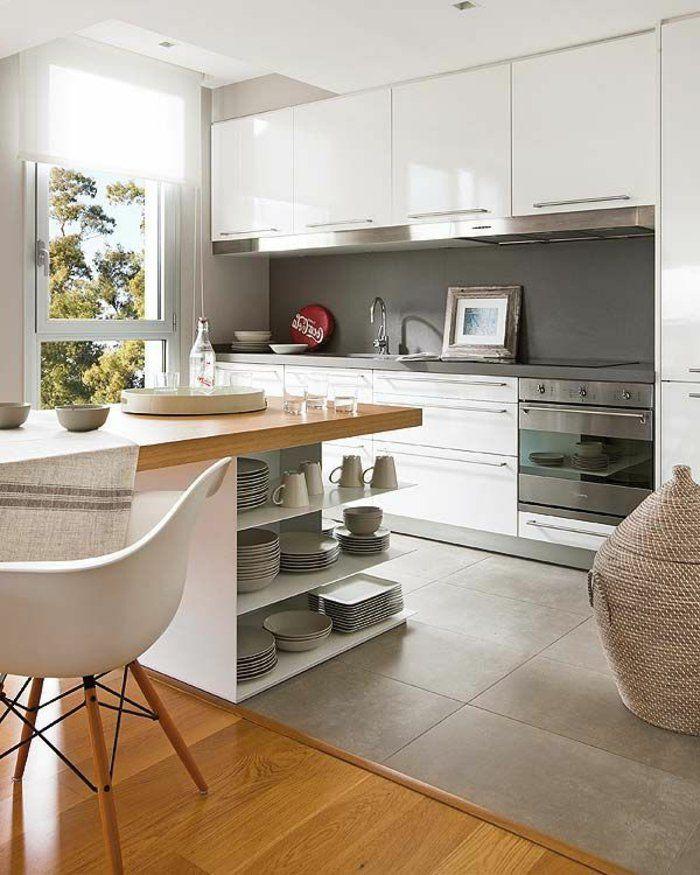 Idée relooking cuisine - ilot central en bois avec carrelage gris ...