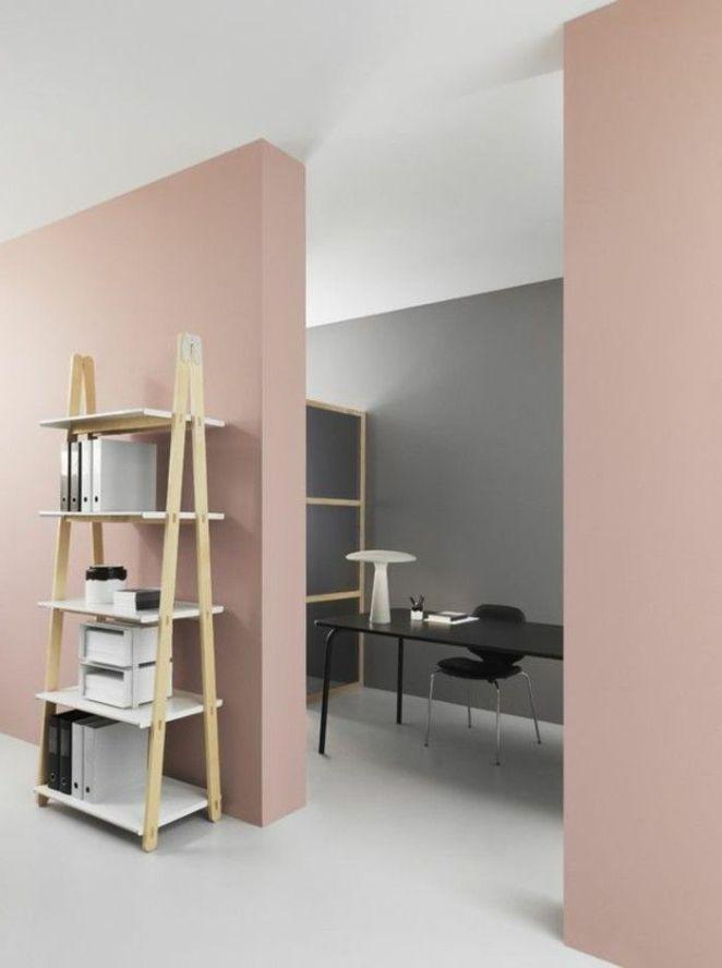 Déco Salon - peinture mur salon de couleur rose pâle, sol beige ...