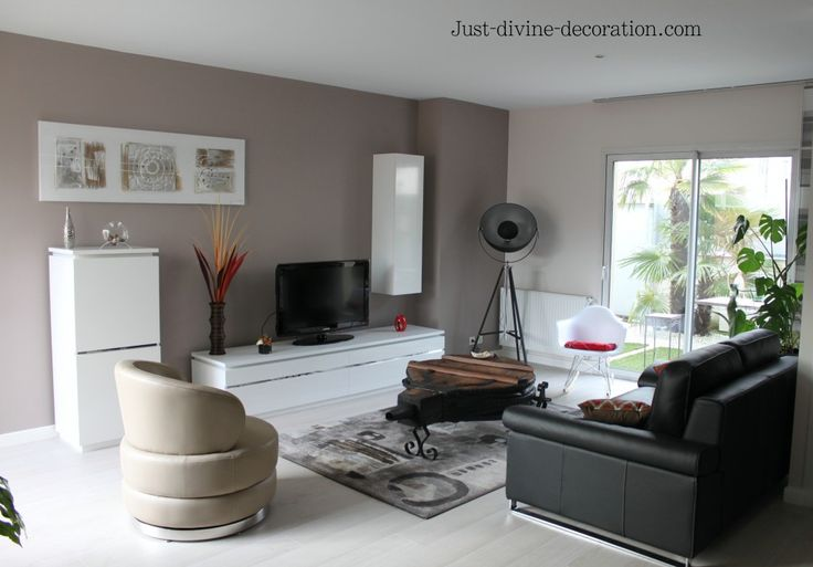 D co salon s jour contemporain taupe gris blanc noir for Deco sejour blanc