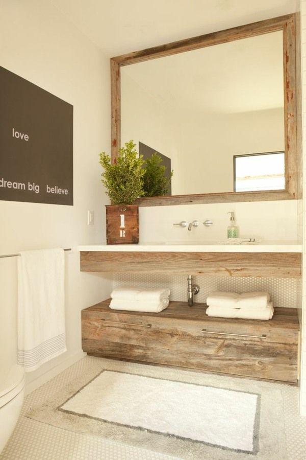 Miroir Salle De Bain Cadre En Bois : Idée décoration salle de bain meuble sous lavabo en bois