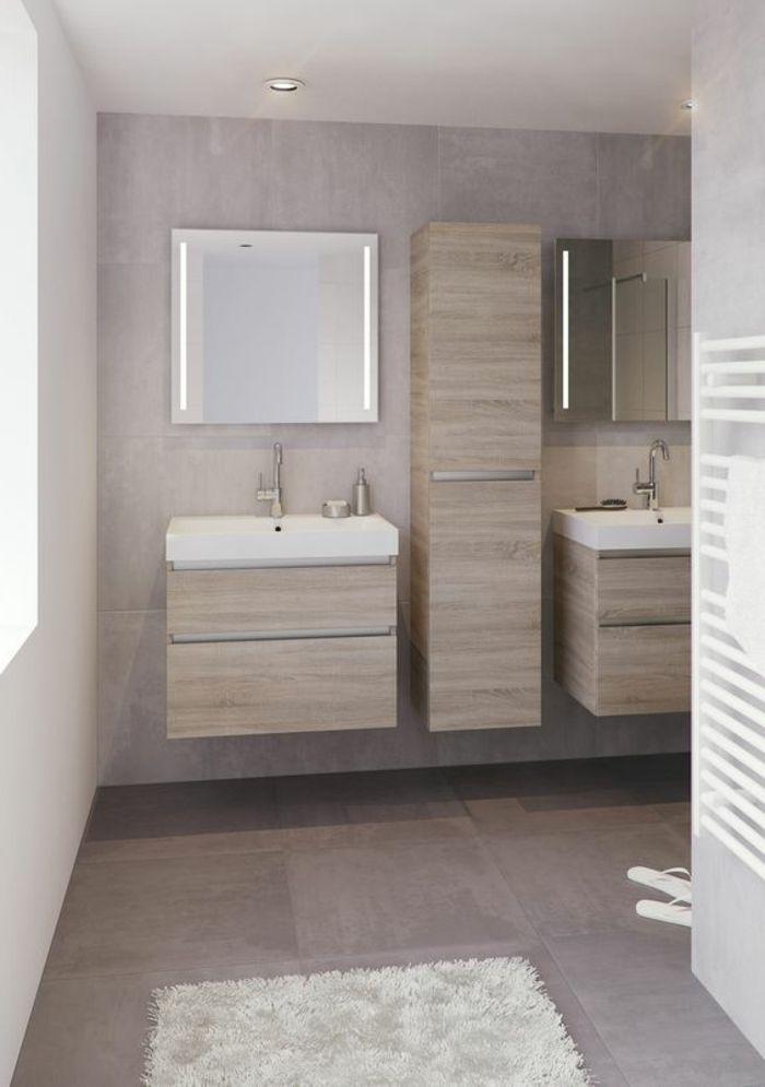 idée décoration salle de bain - salle de bain beige avec meubles ... - Salle De Bain Beige Et Bois