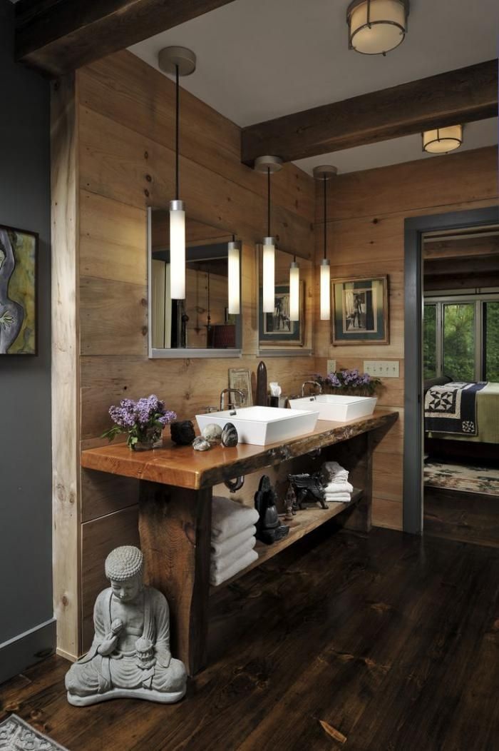 Ide dcoration Salle de bain  salle de bain rustique comptoir bois brut intrieur style
