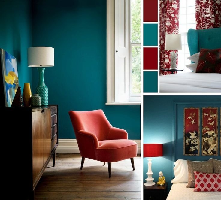 D co salon chambre bleu canard rouge cardinal et blanc for Salon bleu canard