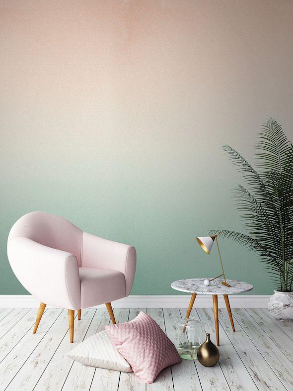 D co salon plante verte couleur pastel degrade mur vert - Deco plante salon ...
