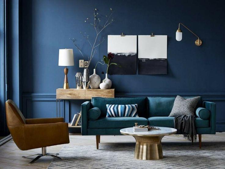 Dco Salon  Salon avec mur en bleu canard et canap en bleu ptrole source West Elm