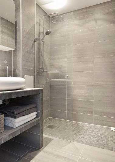 Idée décoration Salle de bain - Carrelage imitation parquet et ...