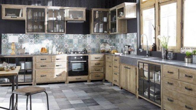 Id e d coration salle de bain meubles bois brut m tal for Meuble metal cuisine