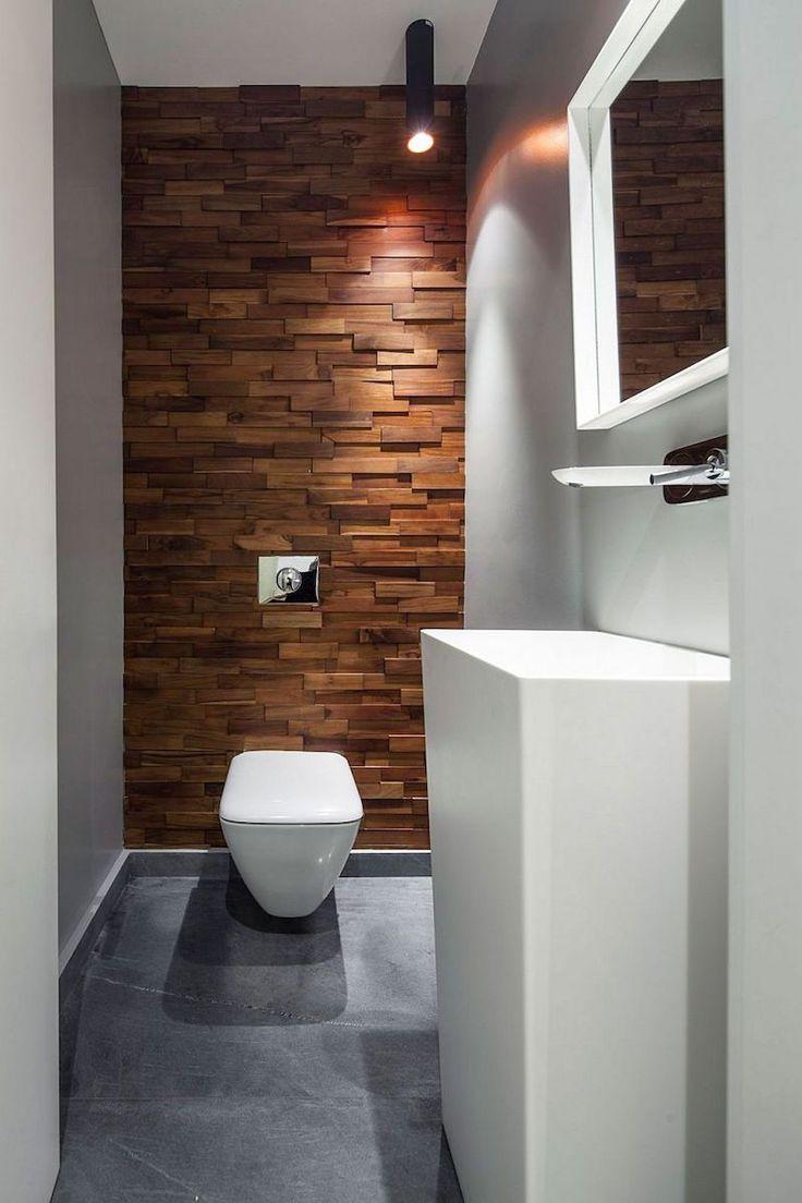 Id e d coration salle de bain parement mural en bois for Idee decoration salle de bain